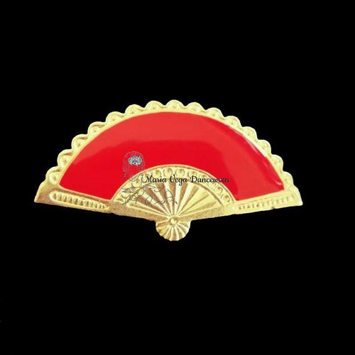Flamenco Brooch golden and enamel fan