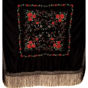 Semi-professional Shawl Black with Red embroidery