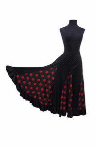 Practice Flamenco skirt, Black with Red polka dots