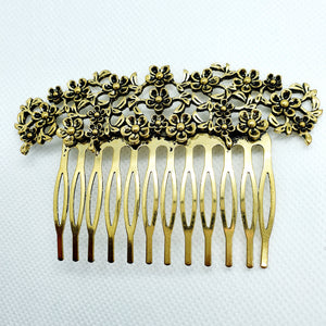 Medium hair comb, silver and golden metal various patterns