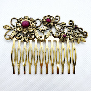 Medium hair comb, golden metal and enamel beads