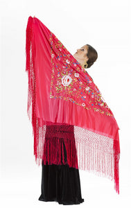 Professional shawl black and multicoloured embroidery