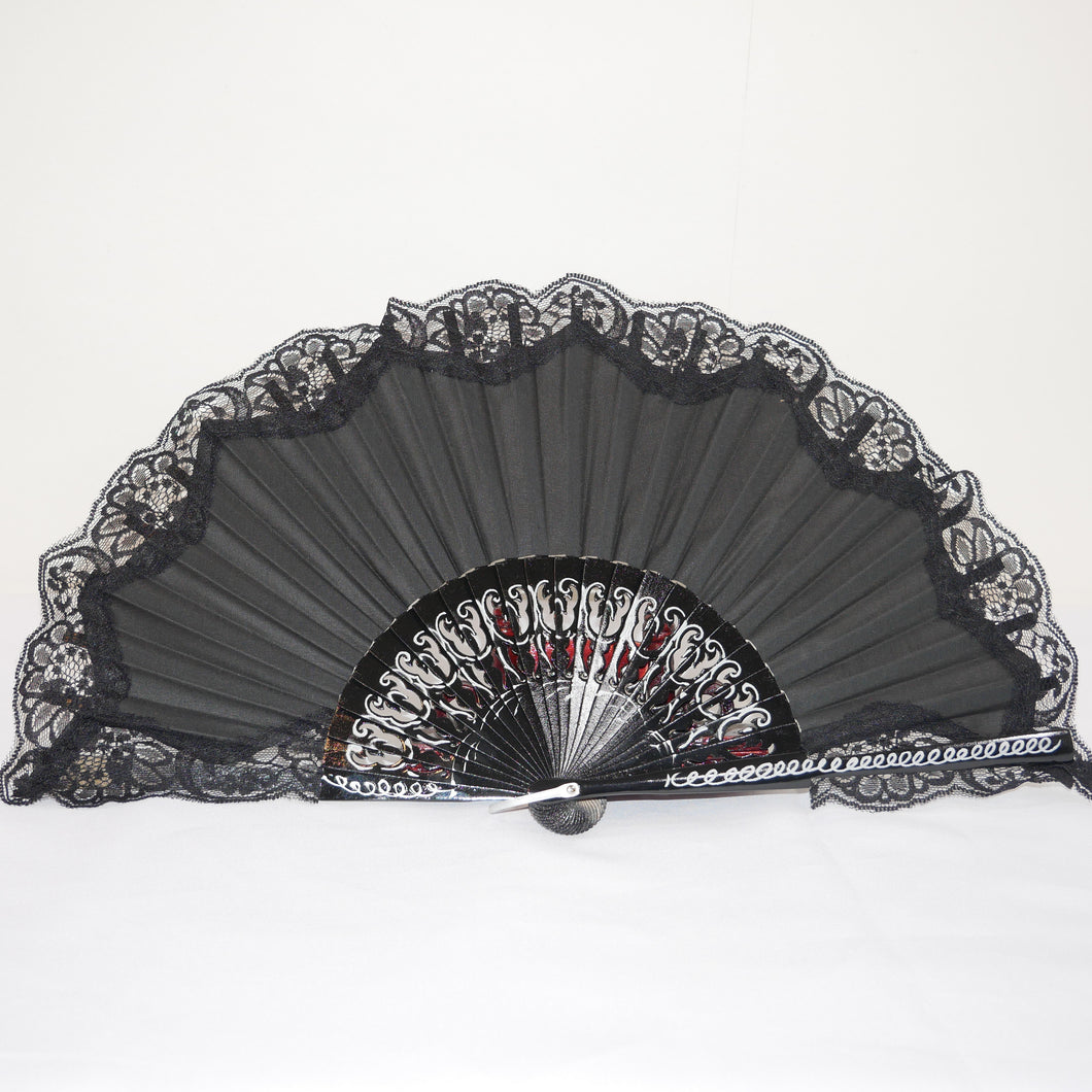 Flamenco hand fan black with lace