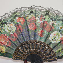 Hand fan flowers with black lace