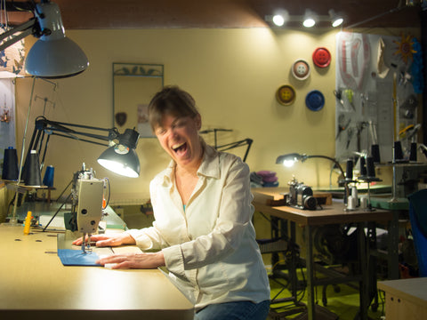 lynne laughing at sewing machine