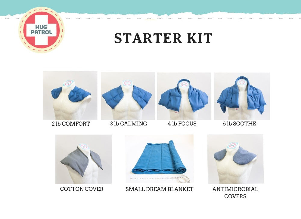 weighted blankets and weighted wraps starter kit for multi-user settings | Hug Patrol