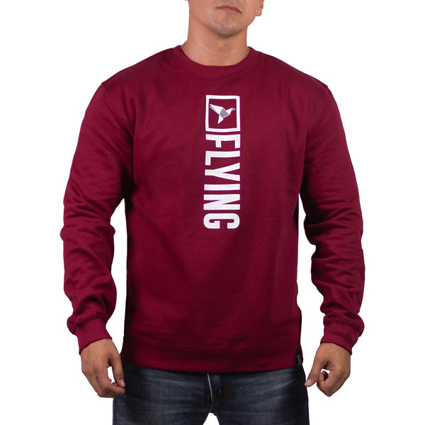 Cardinal/White Origami Mens Midweight Crew Neck