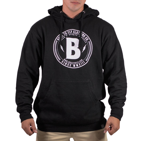 Black/White Mens Circle B Midweight Pullover Hoddie
