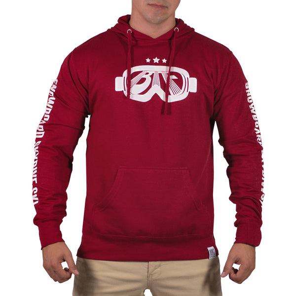 Red/White Mens Goggle Lightweight Pullover Hoddie
