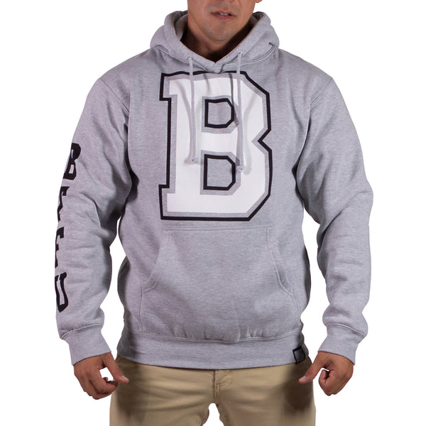 Grey Heather/Black Mens Varsity Heavyweight Pullover Hoddie
