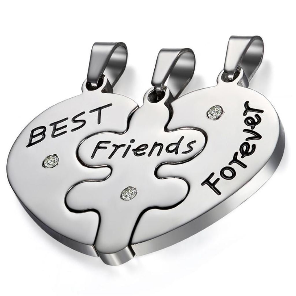 Silver stainless steel best friends pendant necklace heart collar silver stainless steel best friends pendant necklace heart collar accessories mozeypictures Choice Image