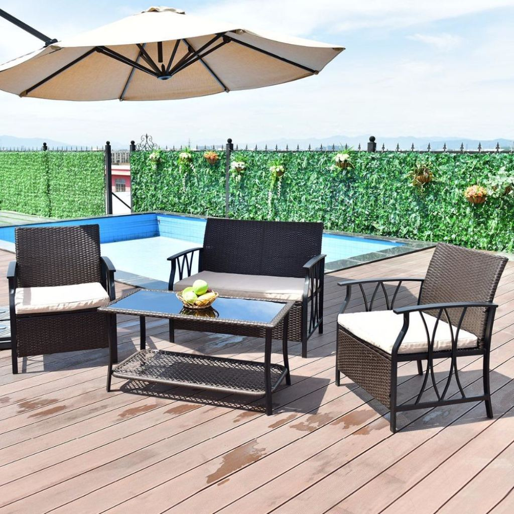 garden set designs sunlounger table structure chair patio wicker products outdoor furniture terra rattan world umbrella