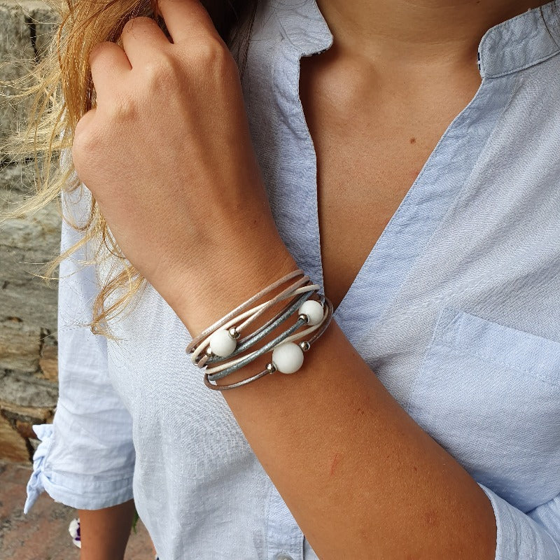 "Wickelarmband ""trio"" metallic"