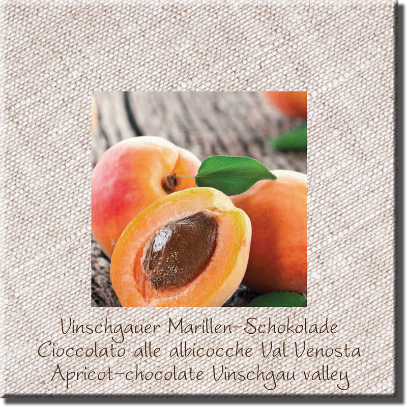 Val Venosta apricot chocolate, fine dark chocolate 66% - Venustis