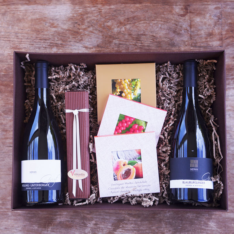 South Tyrol box with South Tyrolean wine, chocolates and chocolates - Venustis