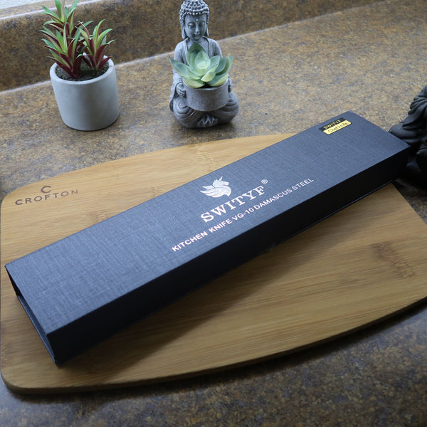 Prime Series Titanx Chef Knife With Japanese Nitrogen Cooled Vg10 Damascus Steel - 8 Inches With Gift Box