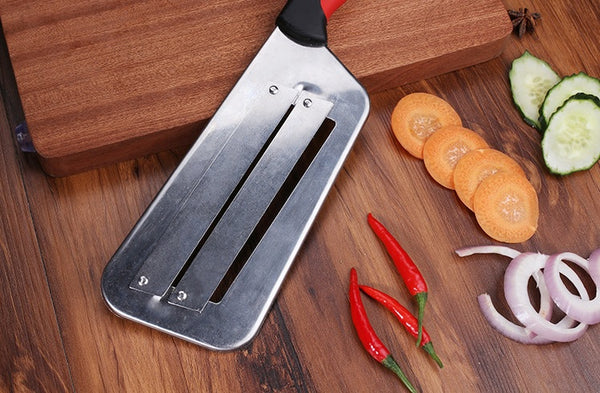 DualEdge™ Professional Chef Multislicer with Two Camber Edge Stainless Steel Knife Blades and Scale Remover