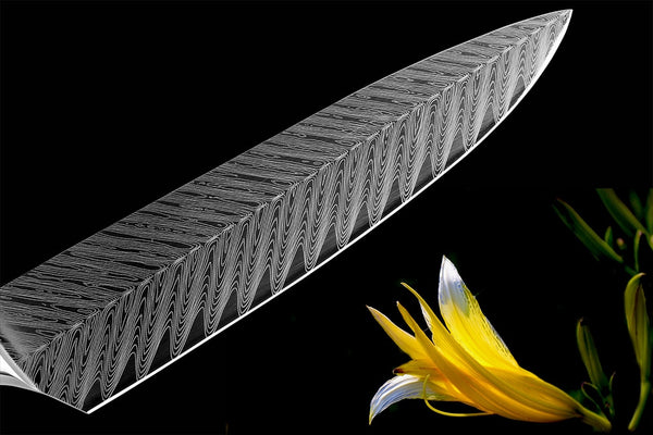 Limited Edition Japanese VG Chef Knife with Precision Damascus Finished Blade - 8 Inches