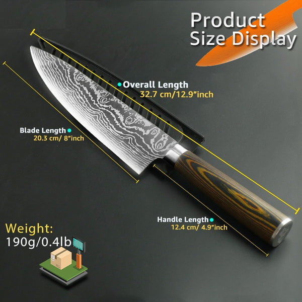 Premium JP Series Chef Knife with High Carbon UltraSharp Stainless Steel Blade and Cover - 8 Inches