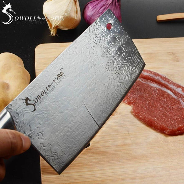 Premium Swl Series Widestyle Chef Cleaver With Ultrasharp Stainless Steel Blade And Decorative Handle - 7 Inches