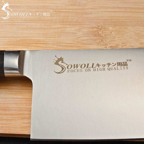 Premium Swl Series Widestyle Chef Cleaver With Ultrasharp Stainless Steel Blade And Exotic Wooden Handle - 7 Inches