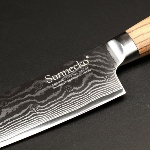 Prime Mk Series Ultimate Chef Knife With Incredible Japanese Vg10 Stainless Steel Blade And Zebra Wood Handle - 8 Inches