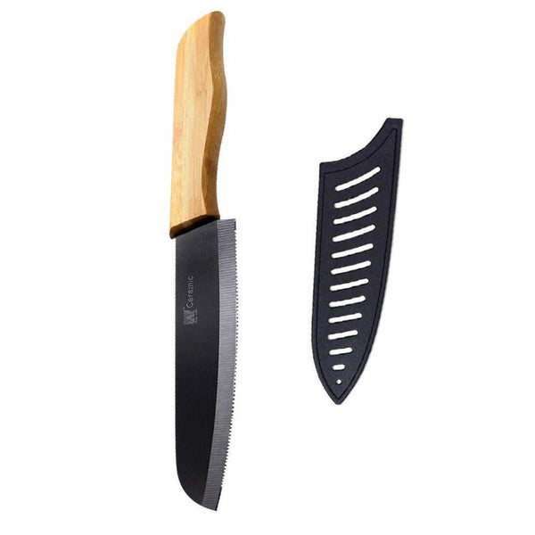 Premium Serrated Ceramic Chef Knife With Bamboo Handle And Cover - 5 Inch