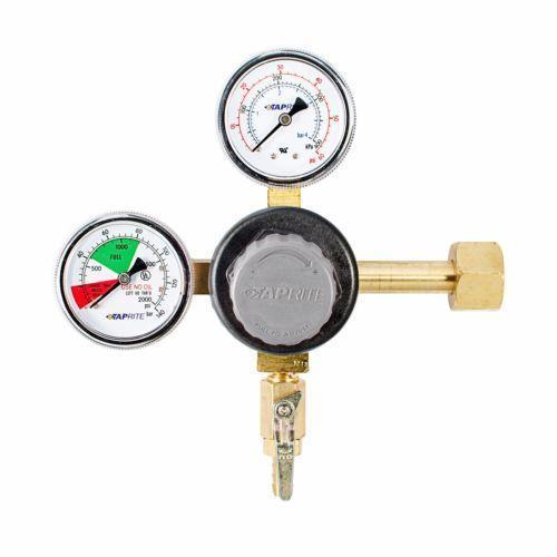 Taprite T742 Brass CO2 Regulator with Plastic Bonnet Knob - 5/16