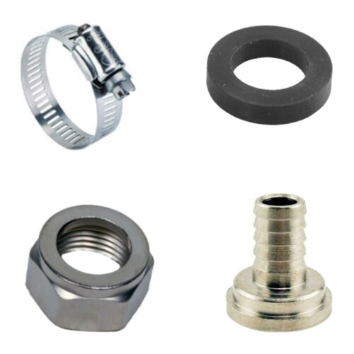 Draft Beer Tubing Tailpiece Barb Hex Nut Clamp Nipple Kit Set - 3/8