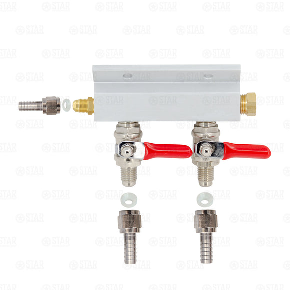 2 Way Co2 Gas Manifold Splitter Distributor Beer Kegerator Threaded Shutoffs-Business & Industrial:Restaurant & Food Service:Bar & Beverage Equipment:Draft Beer Dispensing:Other Draft Beer Dispensing-Star Beverage Supply Co.