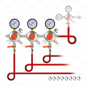 "3 Body Secondary Regulator  Kit with 3/8"" ID Tubing for Domestic Beer Kegerators"