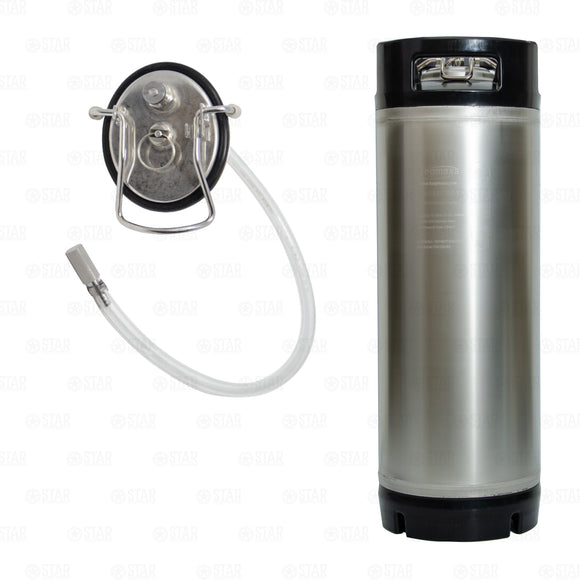 5 Gallon Ball Lock Carbonation Keg with Dip Tube and Aeration Stone