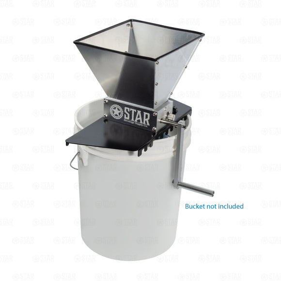 Home Brewing Grain Malt Crusher Mill Hopper and Metal Bucket Base SS304 2 Roller
