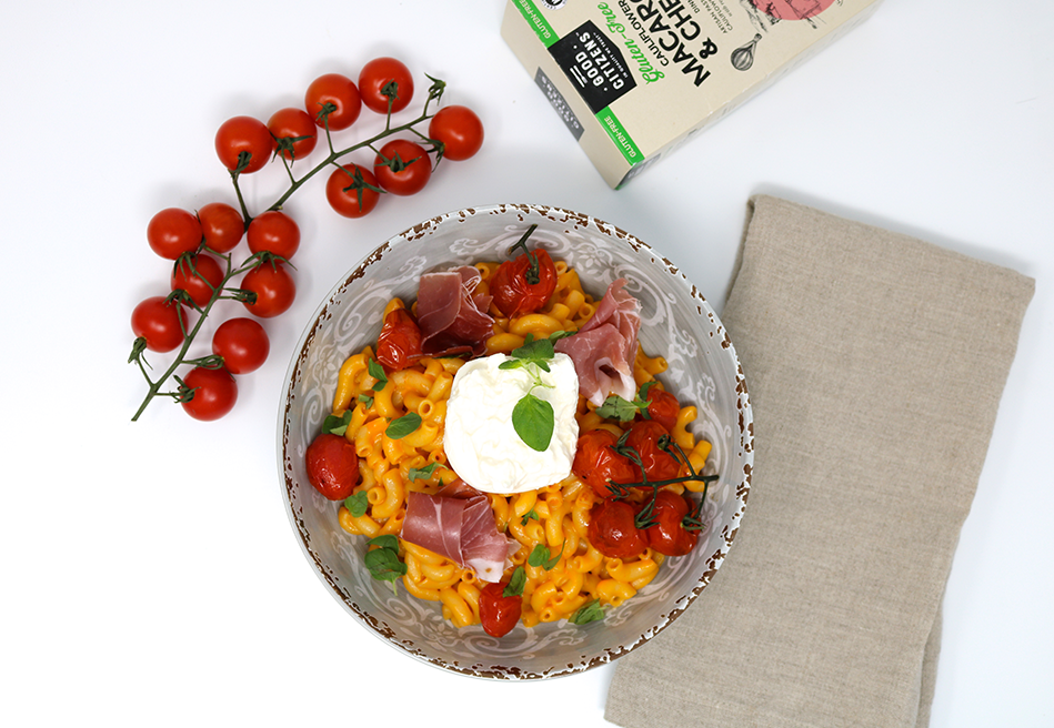 Roasted Cherry Tomato & Burrata Macaroni & Cheese with Prosciutto