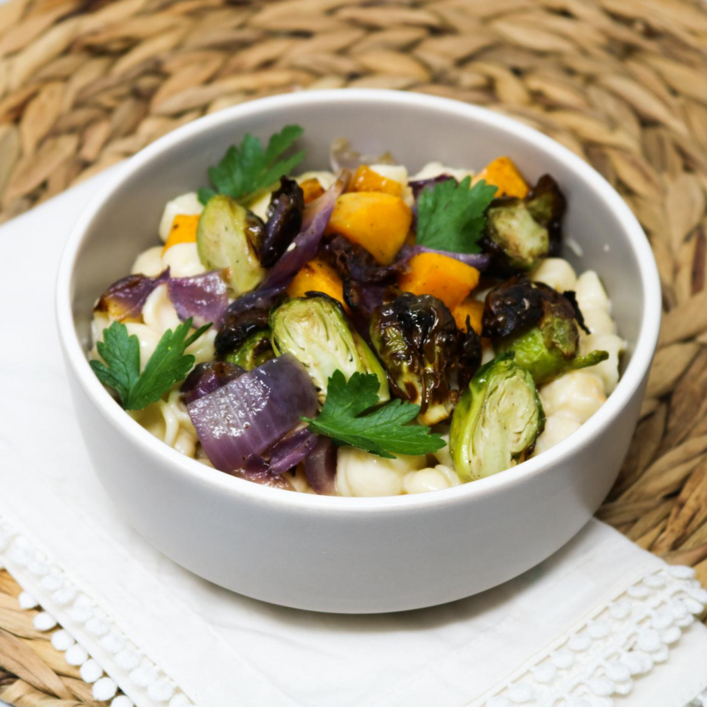 ROASTED BUTTERNUT SQUASH & BRUSSELS SPROUTS WHITE CHEDDAR SHELLS