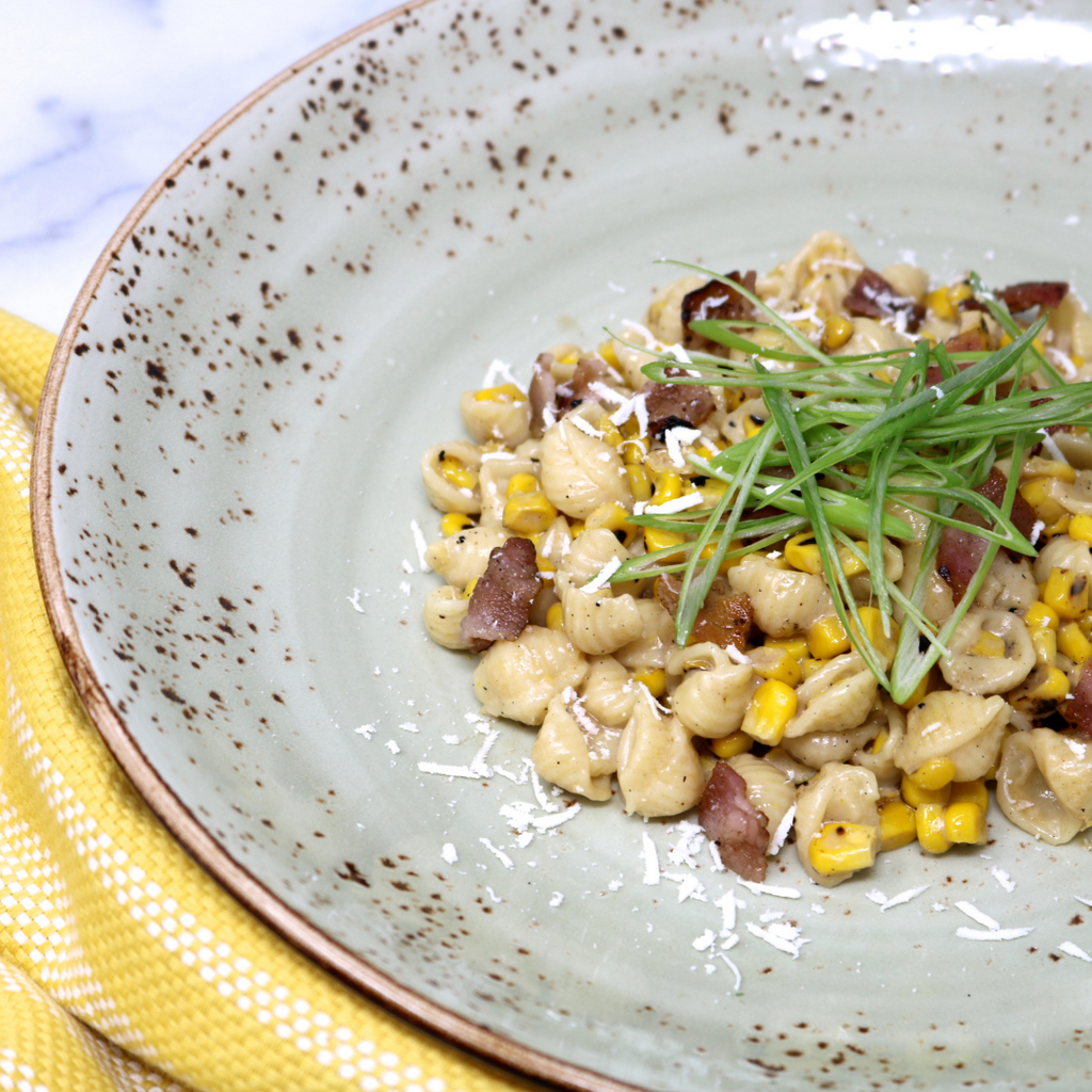 CREAMY GRILLED CORN AND BACON SHELLS