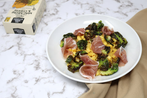 speck and brussels sprouts mac and cheese