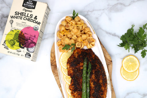 Cajun Mac & Cheese with Pan Roasted White Fish & Asparagus