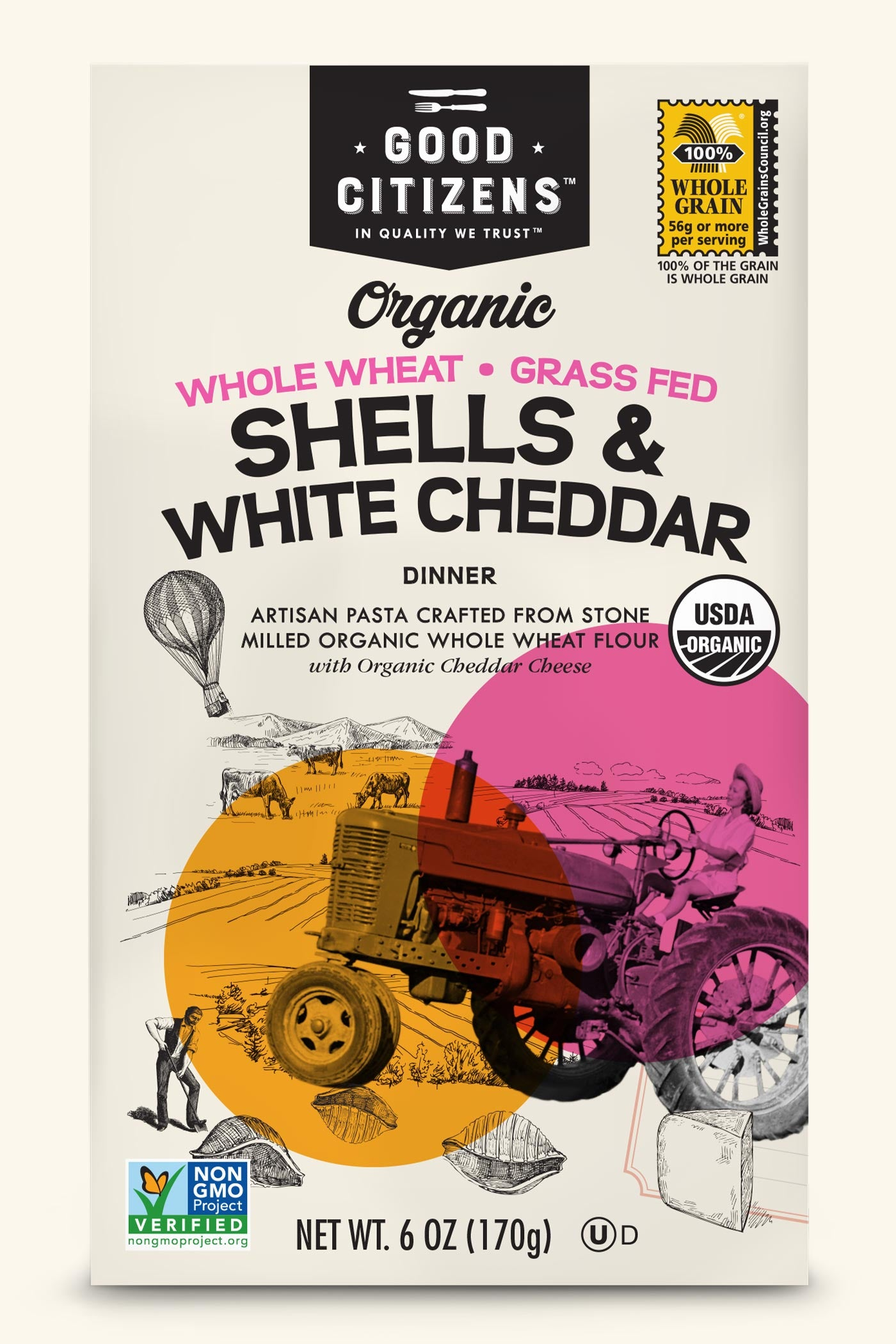 ORGANIC WHOLE WHEAT SHELLS & WHITE CHEDDAR
