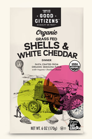 ORGANIC GRASS FED SHELLS & WHITE CHEDDAR