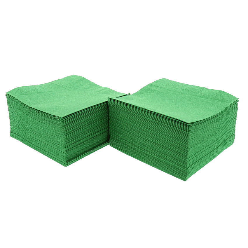 Kelly Green Beverage Napkins Stacked