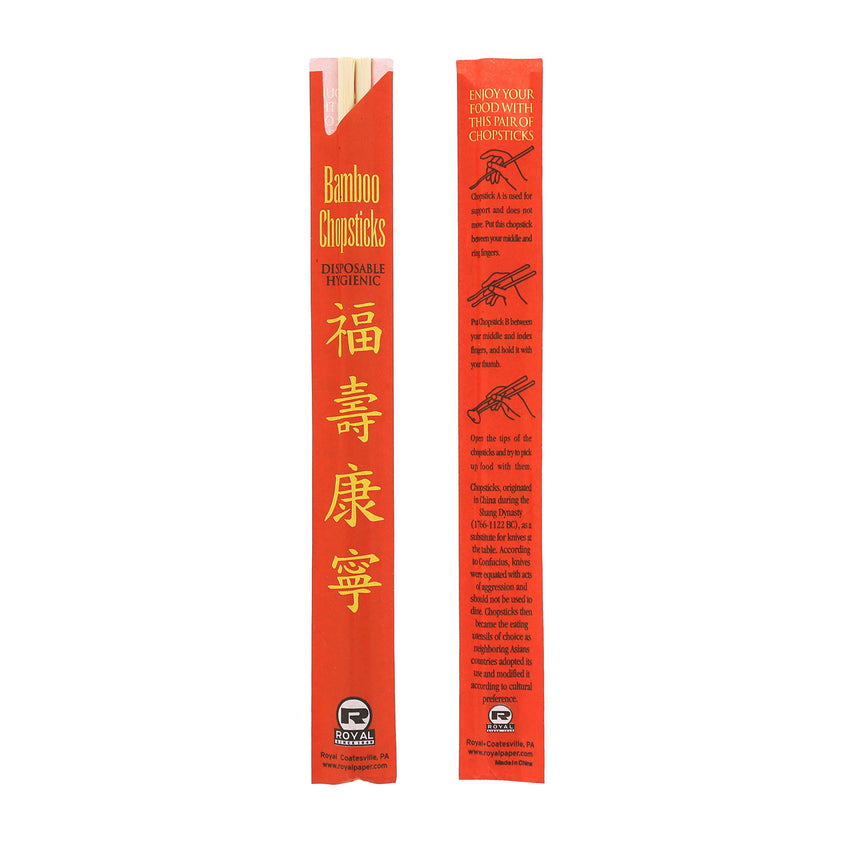 Disposable Bamboo Chopsticks Red Sleeves: Front and Back