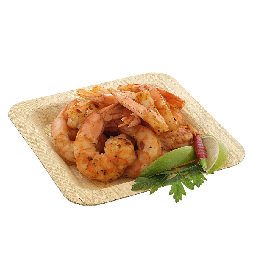 "6"" Square Bamboo Leaf Cocktail Plate with Shrimp"