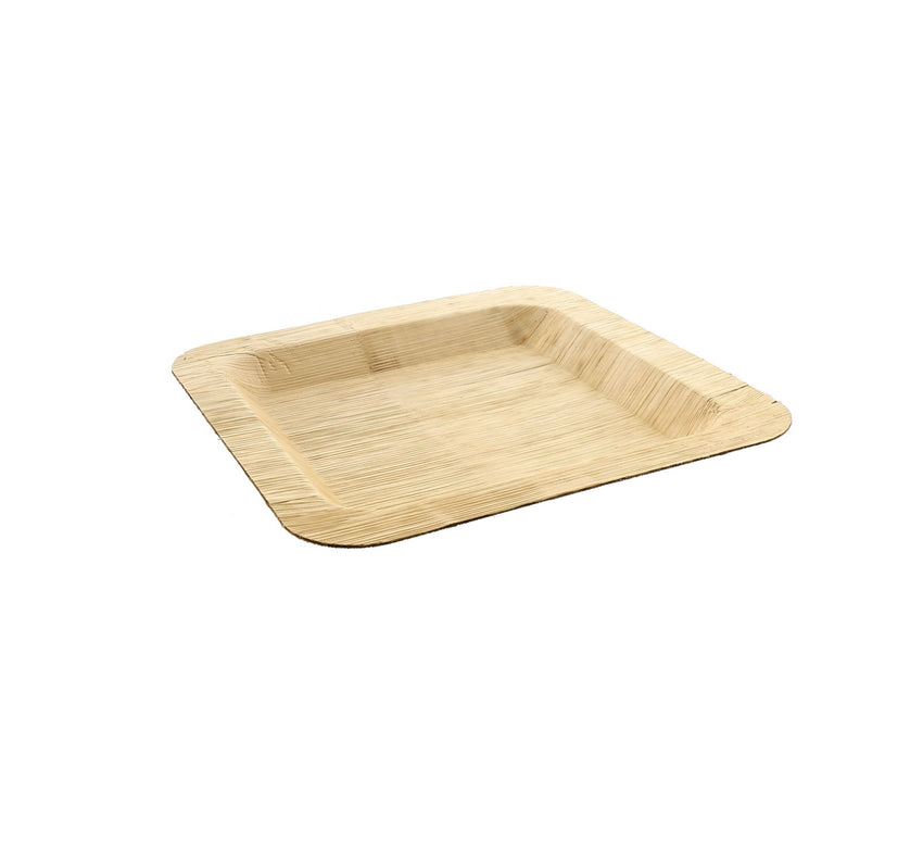 "6"" Square Bamboo Leaf Cocktail Plate"
