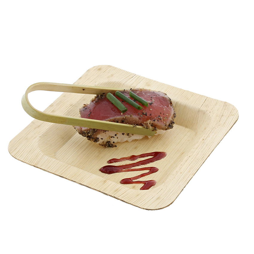 "4.75"" Square Bamboo Leaf Cocktail Plate with Tongs and Entree"