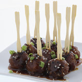 "4"" Bamboo Heart Forks, White, Inserted in Meatballs"