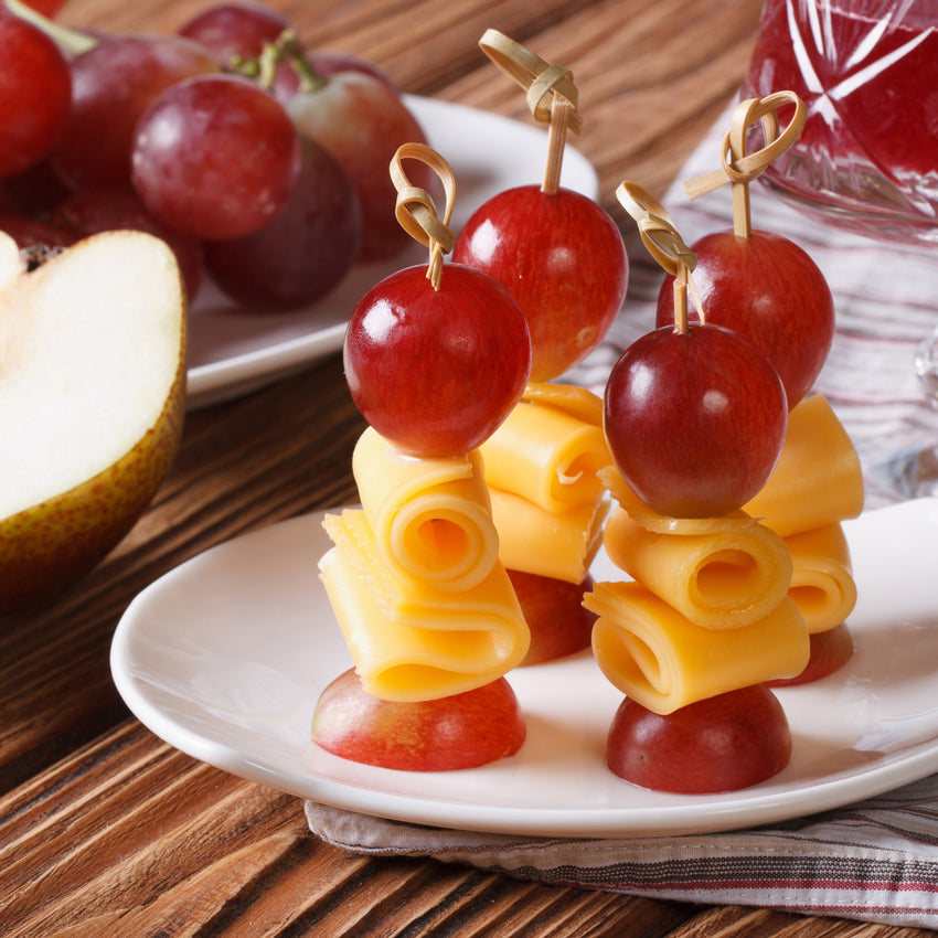"3.5"" Bamboo Knot Picks Inserted in Cheese and Grapes"