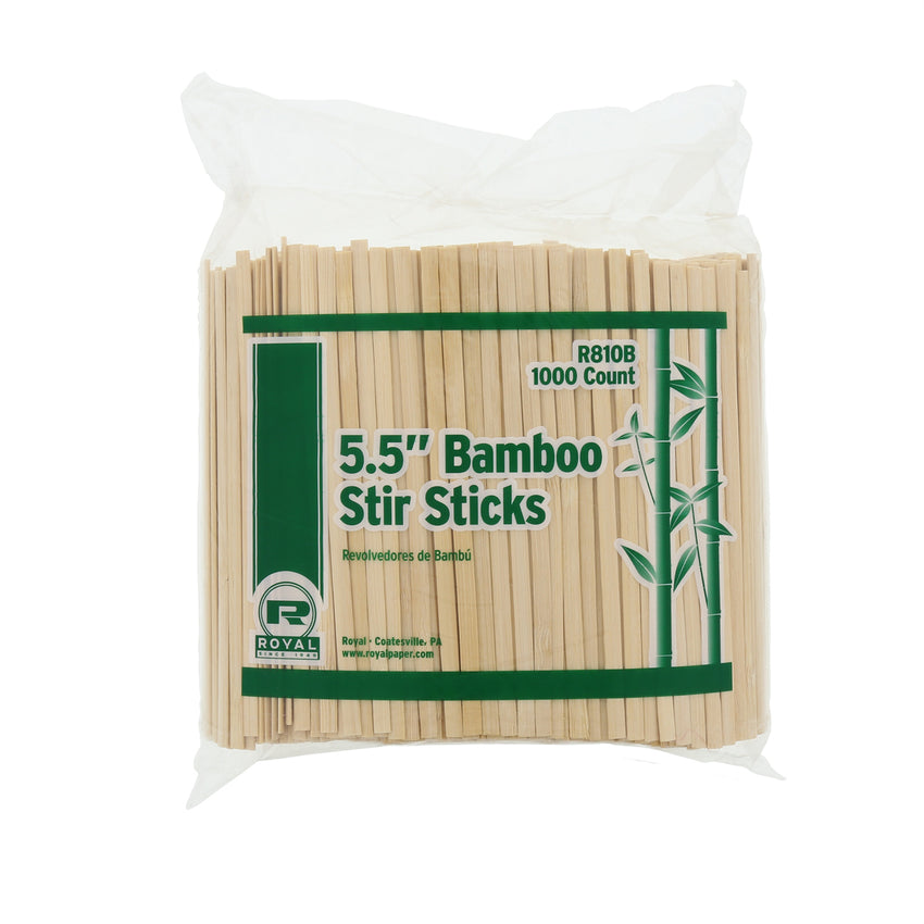 "5.5"" Bamboo Coffee Stirrers, Package of 1000"