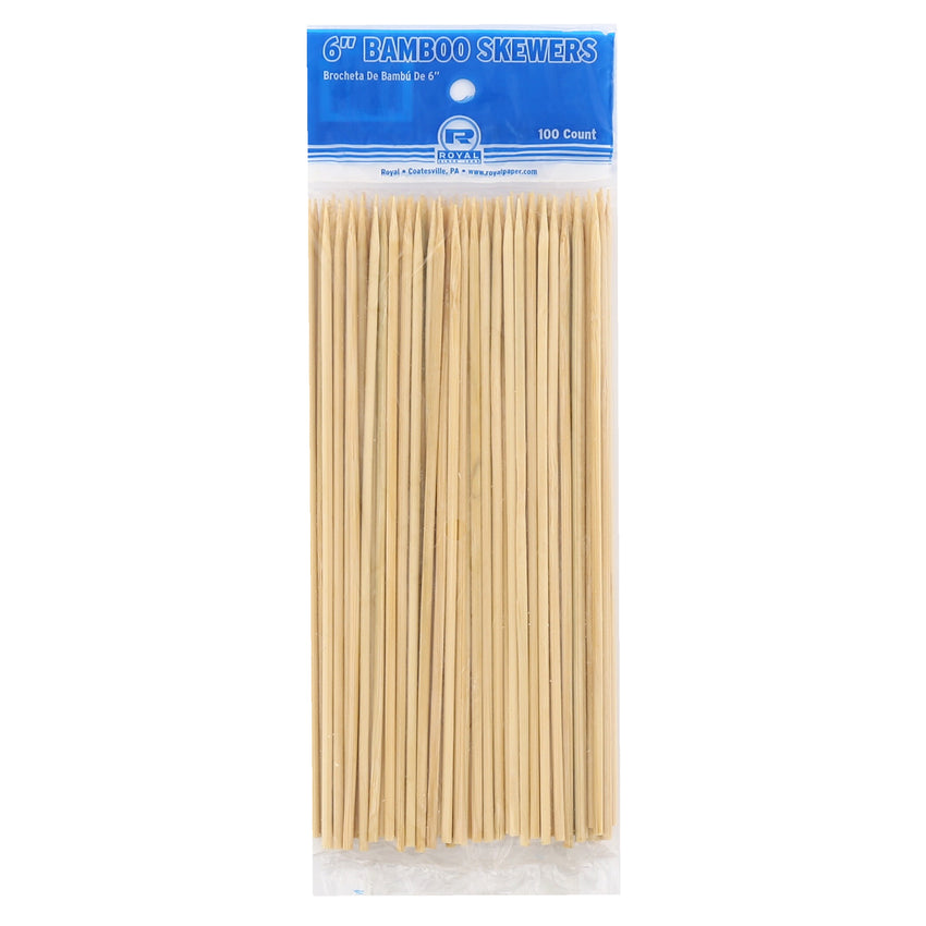 "6"" Round Bamboo Skewers, Package of 100"