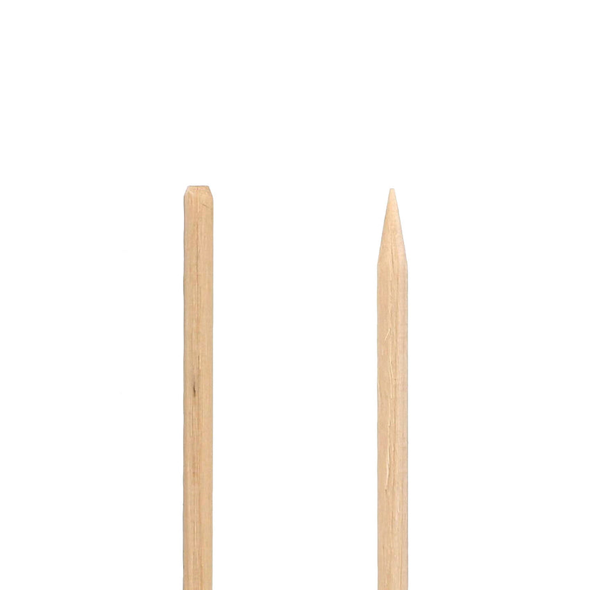 "5.9"" Wooden Skewers - Close-up on Chamfer Edge"